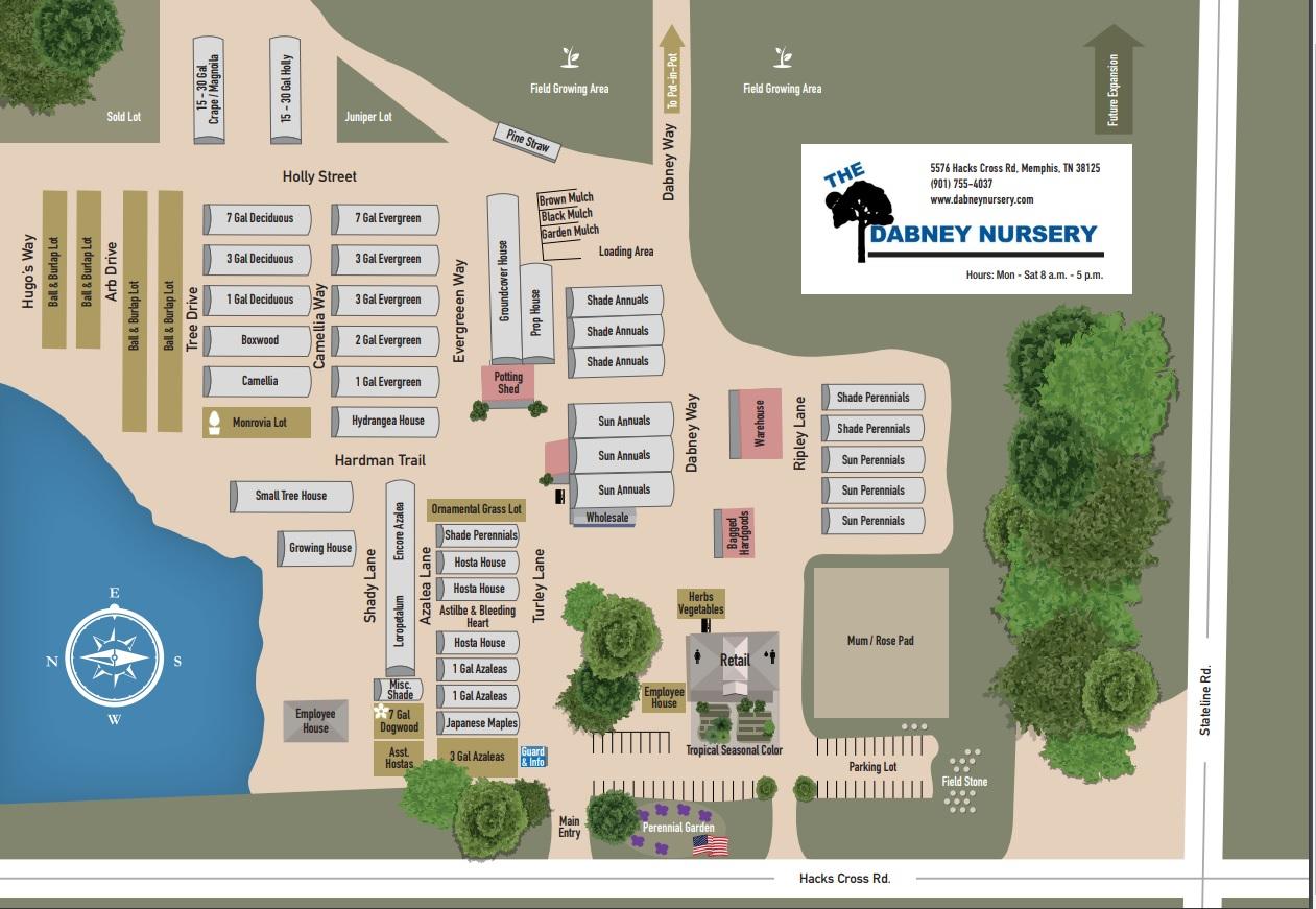 Dabney Nursery Map